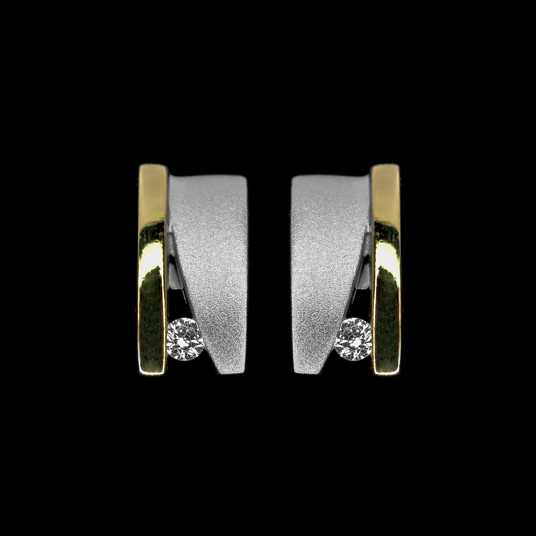 925er Sterlingsilber, Ohrstecker rhodiniert + teilvergoldet