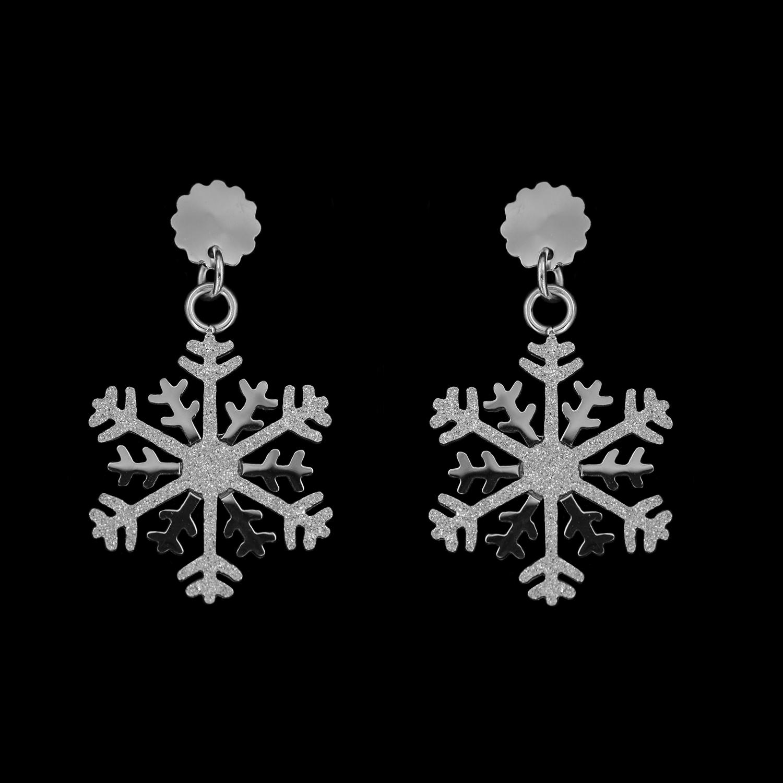 Edelstahl Ohrstecker Schneeflocke