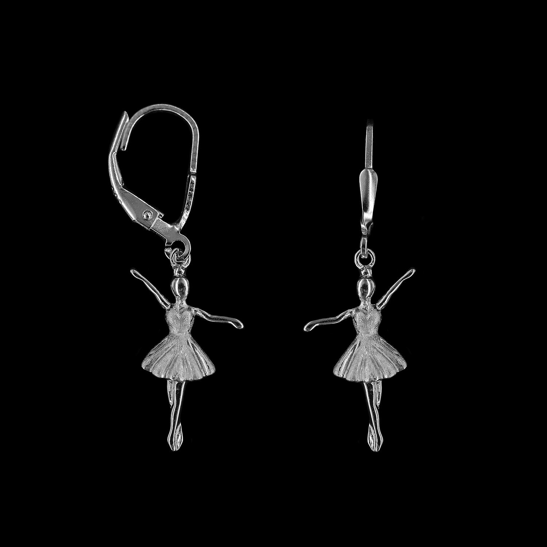 925er Sterlingsilber, Ohrringe Ballerina rhodiniert