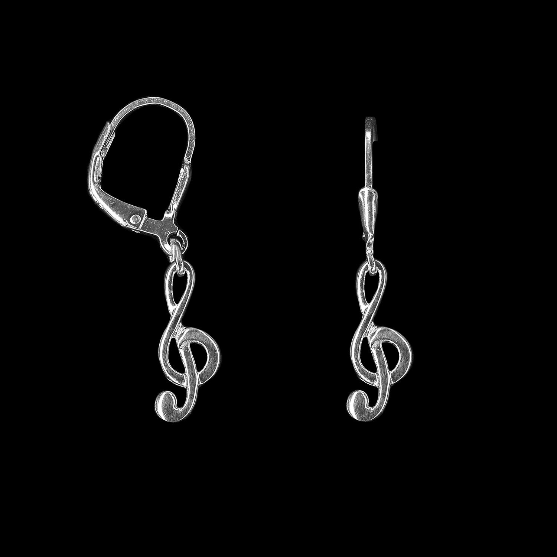 925er Sterlingsilber, Ohrringe kleine Notenschlüssel rhodiniert
