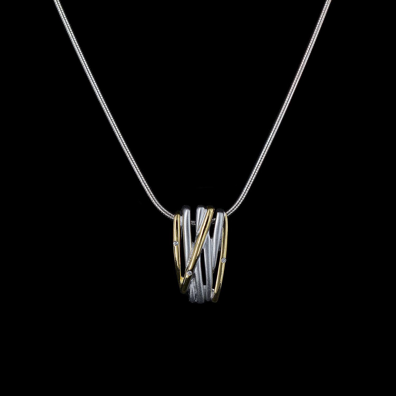 925er Sterlingsilber, Kette + Anhänger rhodiniert + teilvergoldet