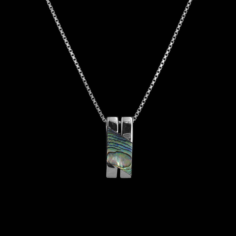 925er Sterlingsilber, Kette + Anhänger rhodiniert, Pauamuscheleinlage