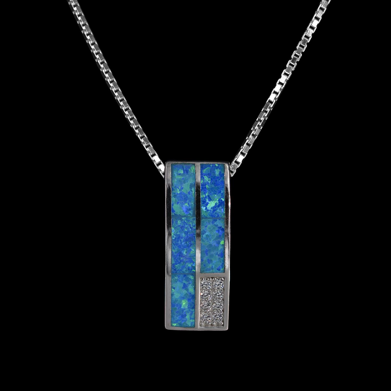 925er Sterlingsilber, Kette + Anhänger rhodiniert, Opal synthetisch