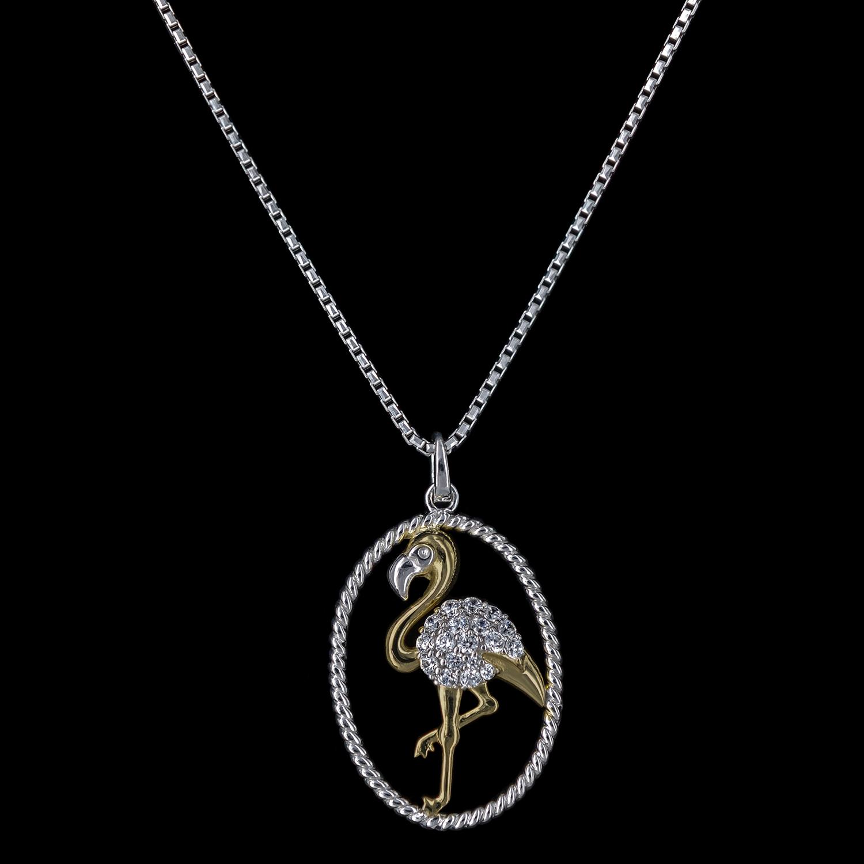 925er Sterlingsilber, Kette + Anhänger Flamingo rhodiniert +teilvergoldet