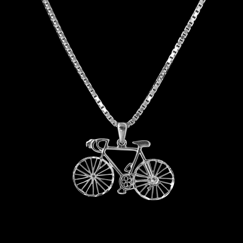 925er Sterlingsilber, Kette +Anhänger Fahrrad rhodiniert