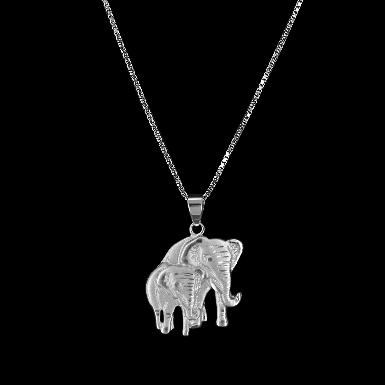 925er Sterlingsilber Kette & Anhänger Elefantenpaar rhodiniert