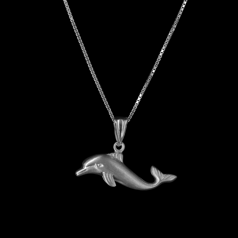 925er Sterlingsilber, Kette + Anhänger Delfin rhodiniert