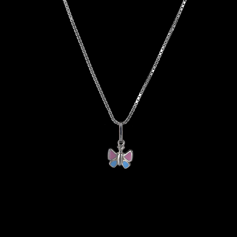 925er Sterlingsilber, Kette + Anhänger Schmetterling, emailliert rosa/hellblau