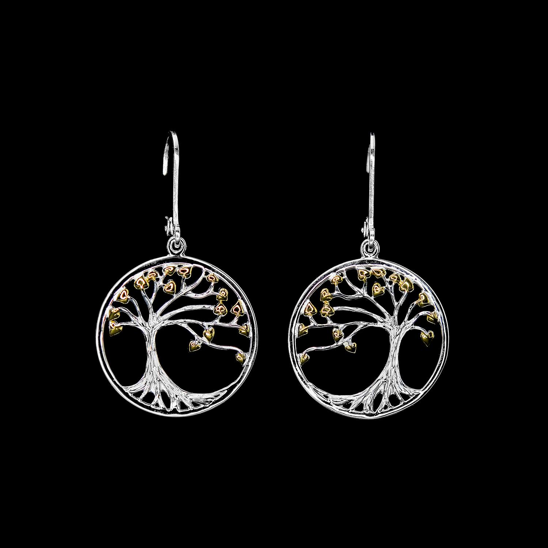 925er Sterlingsilber, Ohrringe Bäume rhodiniert + vergoldet