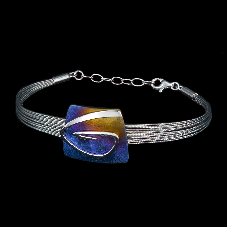 925er Sterlingsilber+Titan, Armband Schmuckteil Titan, regenbogenfarben verlaufend