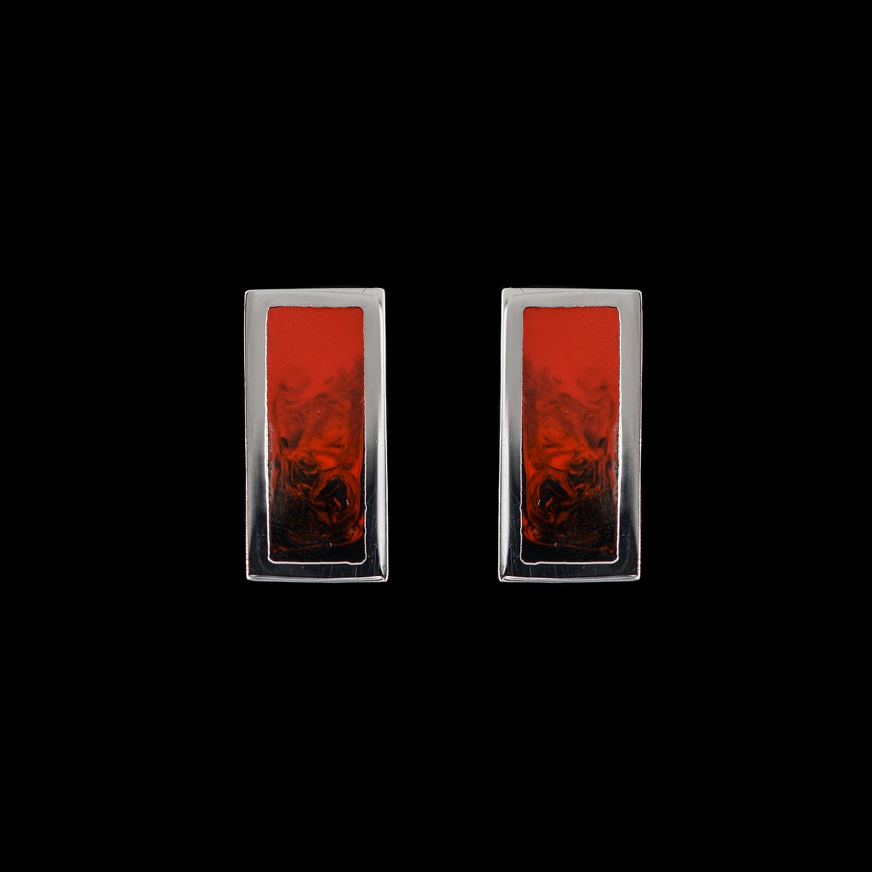 925er Sterlingsilber, Ohrstecker rhodiniert, rot/schwarz emailliert