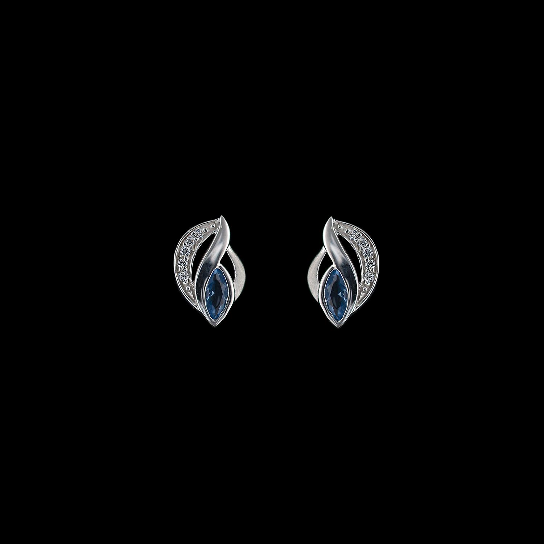 925er Sterlingsilber, Ohrstecker rhodiniert, synthetischer Aquamarin