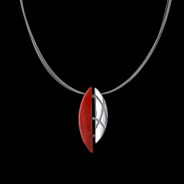 Modeschmuck mehrreihiges Stahlband + Anhänger roter Kunstharz