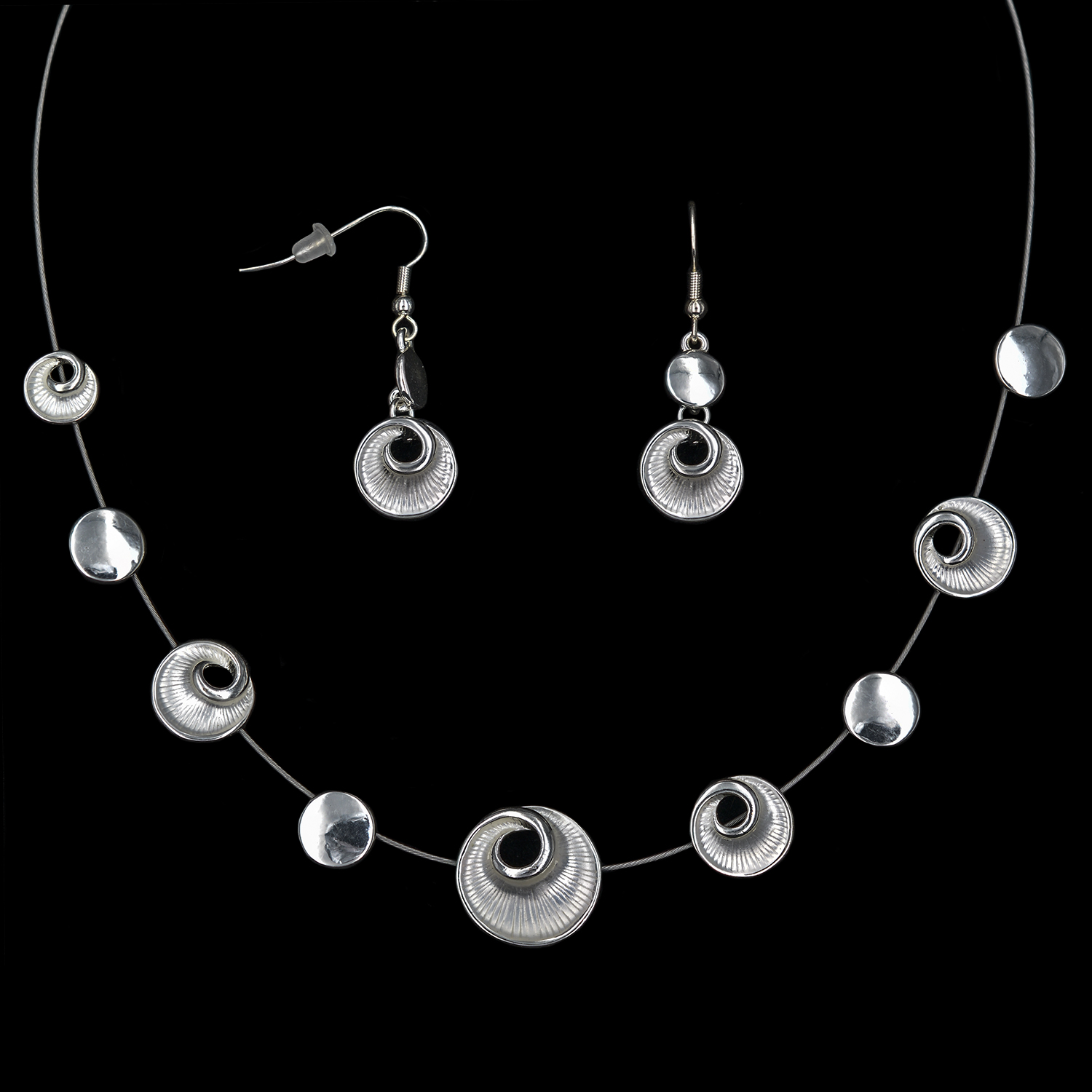 Modeschmuck-Set Collier + Ohrringe versilbert