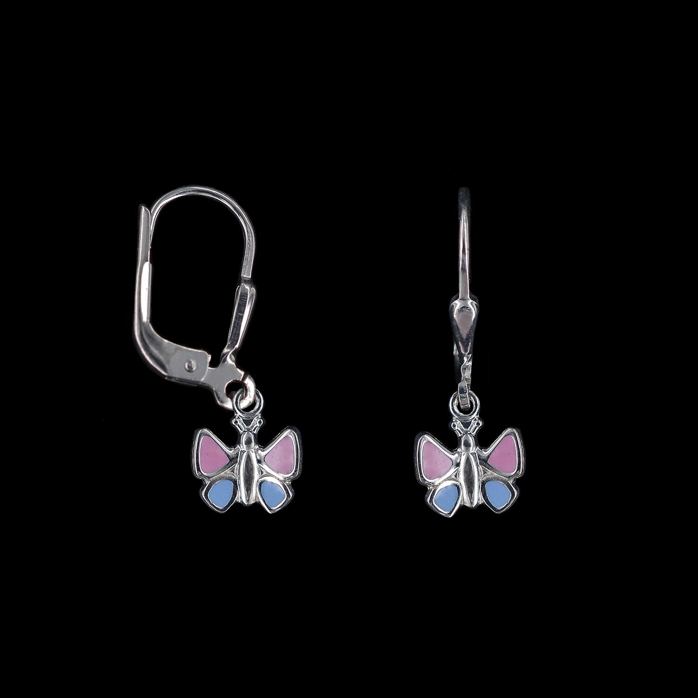 925er Sterlingsilber, Ohrringe Schmetterling, emailliert rosa/hellblau