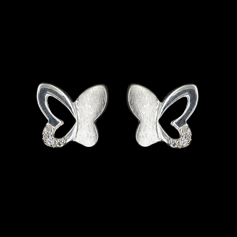 925er Sterlingsilber, Ohrstecker Schmetterling, rhodiniert