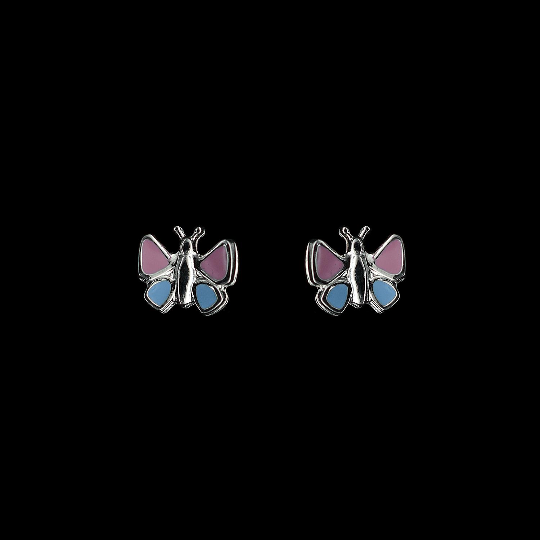 925er Sterlingsilber, Ohrstecker Schmetterlinge, emalliert rosa/hellblau
