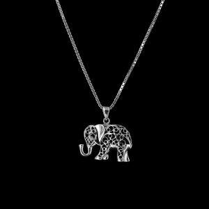 925er Sterlingsilber Kette + Anhänger Elefant rhodiniert