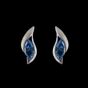 925er Sterlingsilber, Ohrstecker rhodiniert, blauer Stein