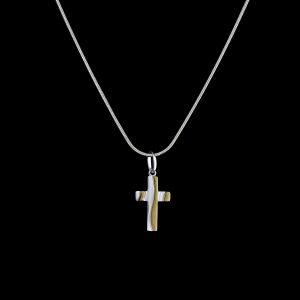 925er Sterlingsilber Kette + Anhänger Kreuz rhodiniert & vergoldet