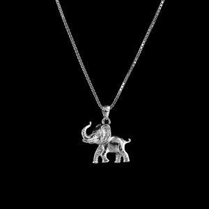 925er Sterlingsilber, Kette + Anhänger Elefant rhodiniert